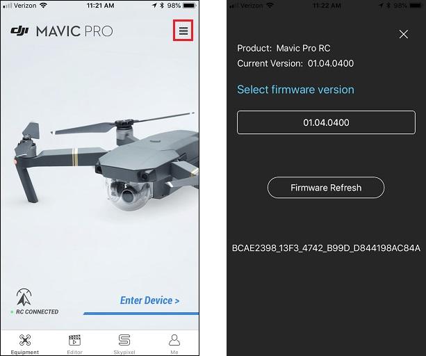 HOW TO: Downgrade Mavic Pro firmware - Mavic Pro - DJI Drone
